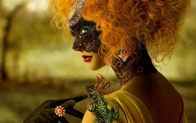 fantasy, mask, red-haired beauty, art
