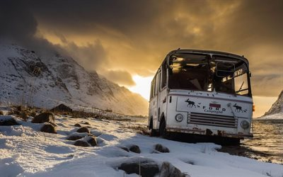 lofoten islands, old bus, snow, mountains, norway