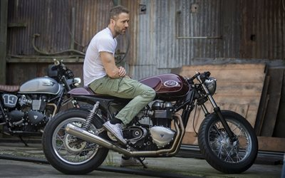 ryan reynolds, triumph, canadian actor, motorcycle, thruxton