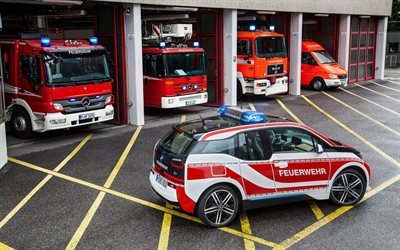 bmw, hatchback, fireman electric car