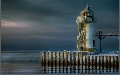 lighthouse, ice, winter, lake michigan