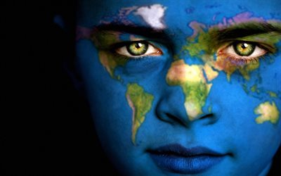 girl, face, world map