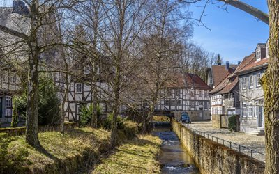 goslar, channel, old town, lower saxony