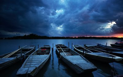 before storm, pier, saitama prefecture, boats, japan