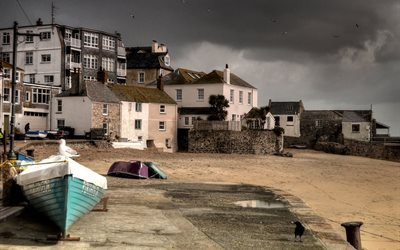 båtar, promenade, st ives, west cornwall, england