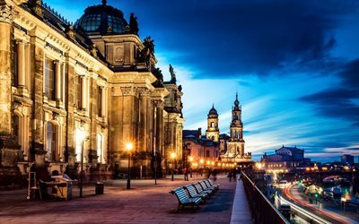 dawn, city, dresden, old district, altstadt, saxony