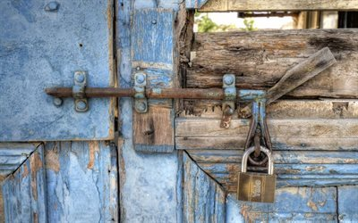 blue background, old door, texture