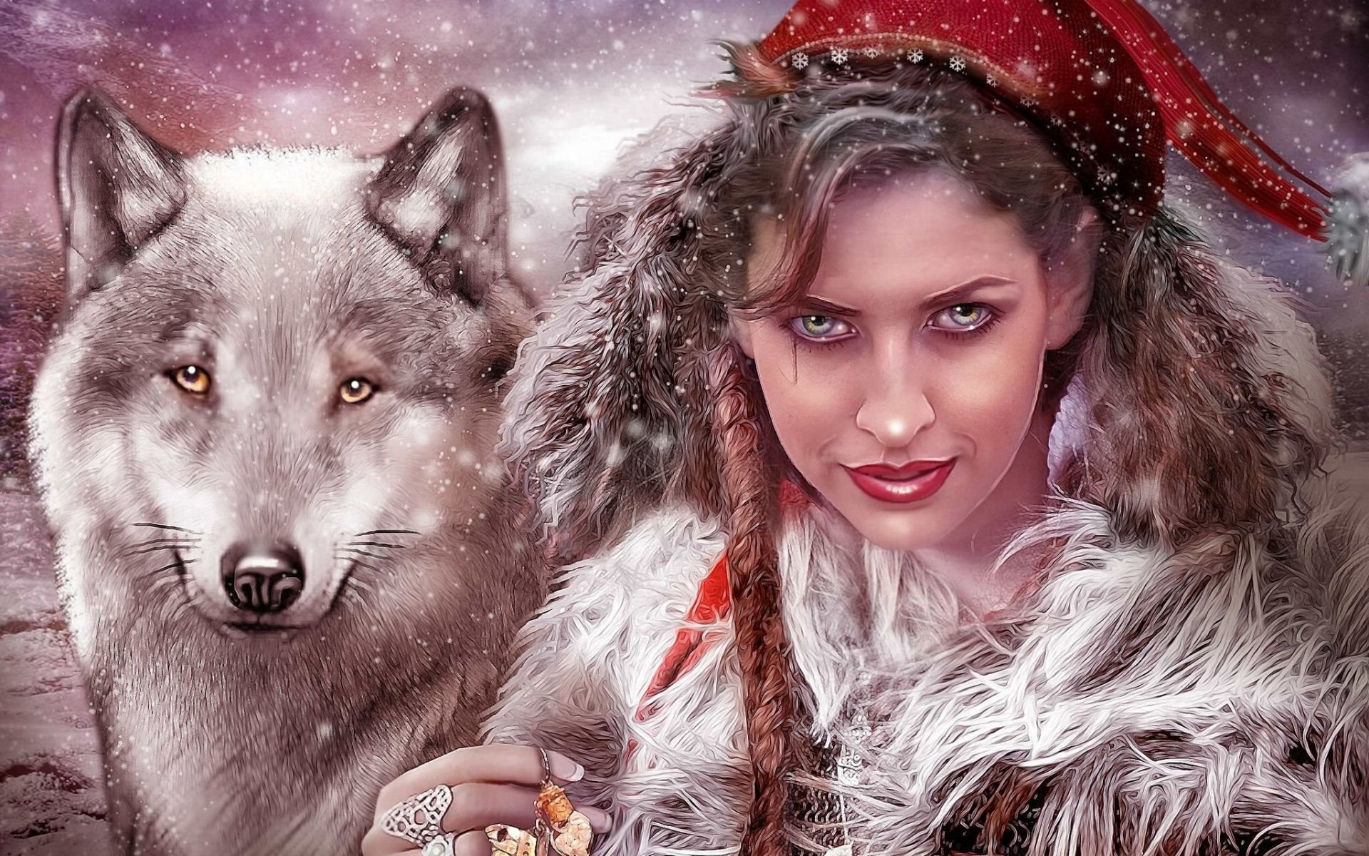 little red riding hood, art, fantasy, wolf