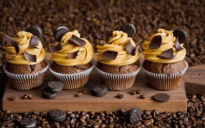 coffee beans, board, cookies, chocolate cupcakes