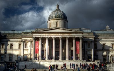londres, national gallery, trafalgar square, royaume-uni