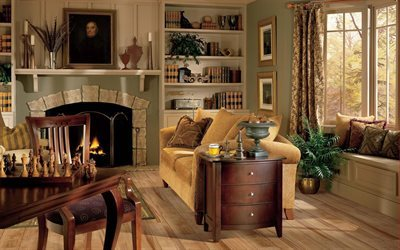 fireplace, upholstered furniture, picture