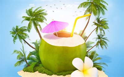 Summer travel, 3d island, coconut cocktail, palm trees, sand, relaxation