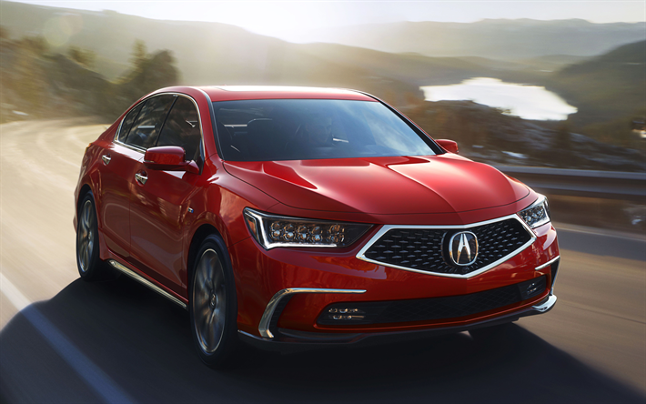 Download Wallpapers Acura RLX, 2018, Red RLX, Sedan