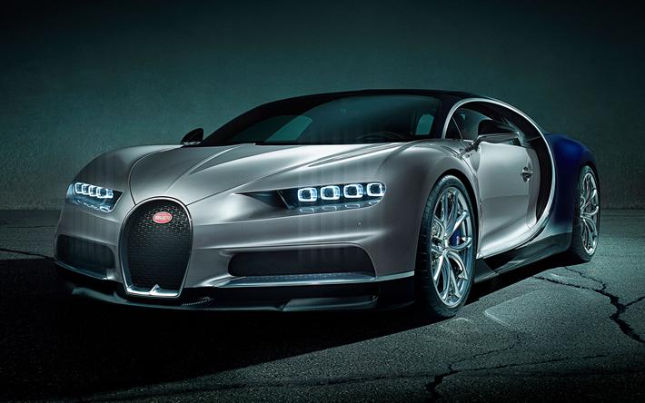 Télécharger fonds d'écran Bugatti Chiron, 2018, 4k, vue de face, supercar, hypercar, voiture de ...