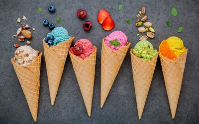 different fruit ice cream, sweets, dessert, ice cream, fruit, berries