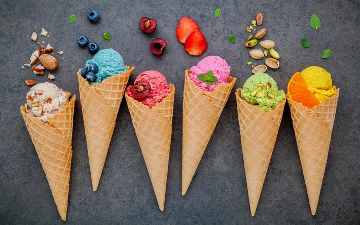 Scarica Sfondi Diversi I Gelati Alla Frutta Dolci Dessert Gelato