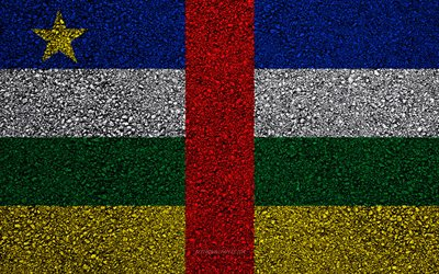 Flag of Central African Republic, asphalt texture, flag on asphalt, Africa, Central African Republic, flags of African countries