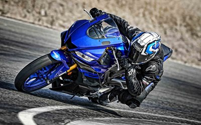 Yamaha YZF-R3, 2019, blue sports bike, new blue YZF-R3, race track, japanese racing motorcycles, Yamaha