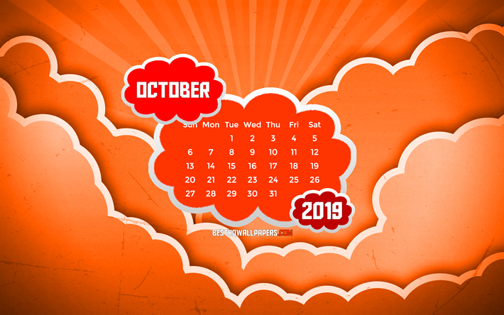 October 2019 Calendar, 4k, orange clouds, autumn, 2019 calendar, October 2019, creative, abstract clouds, October 2019 calendar with clouds, Calendar October 2019, orange background, 2019 calendars