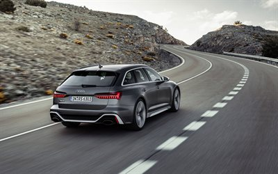 2020, Audi RS6 Avant, rear view, exterior, gray station wagon, new gray RS6 Avant, german cars, Audi