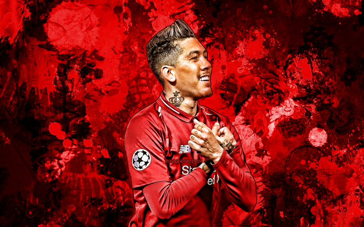 Download Wallpapers Roberto Firmino, Red Paint Splashes