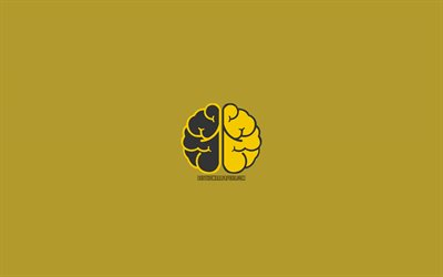 yellow brain, 4k, mind concept, minimal, creative, brains, intellect, mathematics, brain