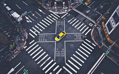 Tokyo, crossroads, japanese cities, yellow taxi, Japan, Asia, roads in Tokyo