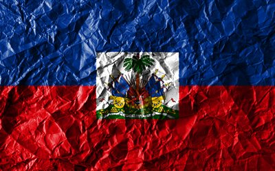 Haitian flag, 4k, crumpled paper, North American countries, creative, Flag of Haiti, national symbols, North America, Haiti 3D flag, Haiti