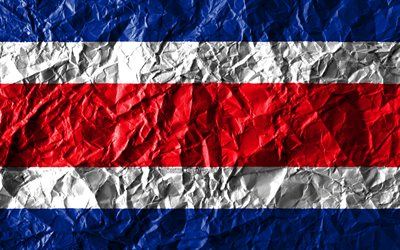 Costa Rican flag, 4k, crumpled paper, North American countries, creative, Flag of Costa Rica, national symbols, North America, Costa Rica 3D flag, Costa Rica