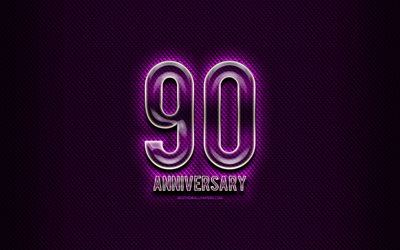 90th anniversary, glass signs, violet grunge background, 90 Years Anniversary, anniversary concepts, creative, Glass 90th anniversary sign