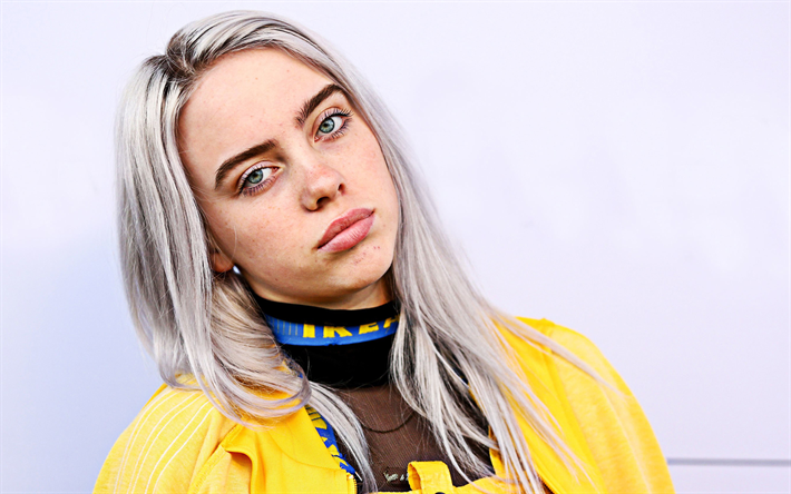 Billie Eilish, portrait, american singer, photoshoot, yellow jacket, Billie Eilish Pirate Baird OConnell