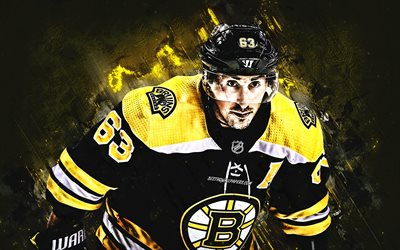 Brad Marchand, ritratto, giocatore di hockey Canadese, Boston Bruins, NHL, USA, giallo, creativa, hockey