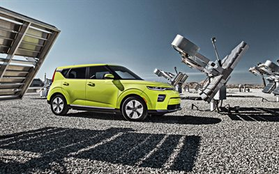 Kia Soul EV, 2020, front view, exterior, new bright green Soul, electric car, electric Soul, Korean cars, Kia