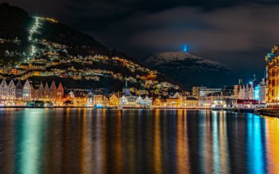Bergen, night, city lights, cityscape, Bergen skyline, mountain landscape, fjord, Norway