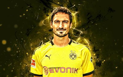Mats Hummels, season 2019-2020, german footballers, Borussia Dortmund FC, defender, soccer, BVB, Germany, Bundesliga, Mats Julian Hummels, football, neon lights