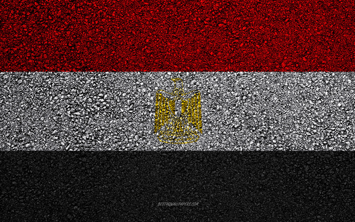 Flag of Egypt, asphalt texture, flag on asphalt, Egypt flag, Africa, Egypt, flags of African countries, Egyptian flag