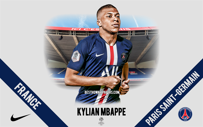 Kylian Mbappe, PSG, portrait, French football player, Paris Saint-Germain, Ligue 1, France, PSG footballers 2020, football, Parc des Princes