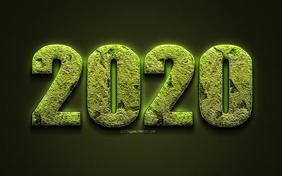 2020 Year Concepts, green grass letters, grass art, Happy New Year 2020, creative art, 2020 Green background, 2020 concepts, 2020, ecology, environment