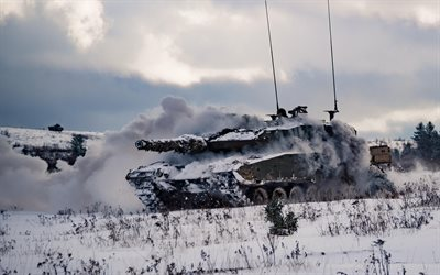 Leopard 2, Canadian Armed Forces, Leopard 2A4M CAN, canadian tank, winter, tank in winter, modern armored vehicles, tanks, Canada