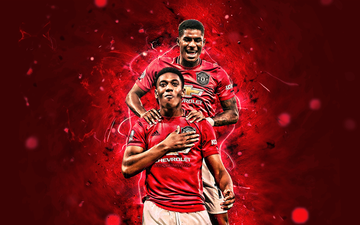 Download Wallpapers Marcus Rashford, Anthony Martial, Goal