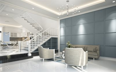 luxurious living room interior, modern style, white staircase, stylish furniture, white living room, living room interior design