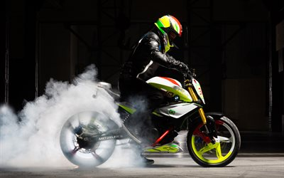4k, BMW Concept Stunt G 310, smoke, 2019 bikes, BMW Motorrad, superbikes, german motorcycles, BMW