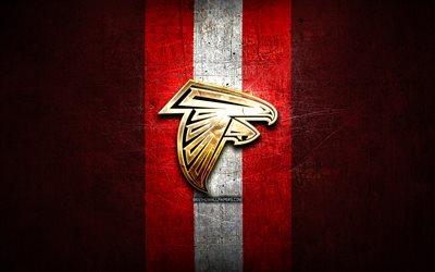 Download wallpapers Atlanta Falcons golden logo NFL red