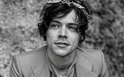 Harry Styles, british singer, portrait, photoshoot, monochrome, british star, Harry Edward Styles