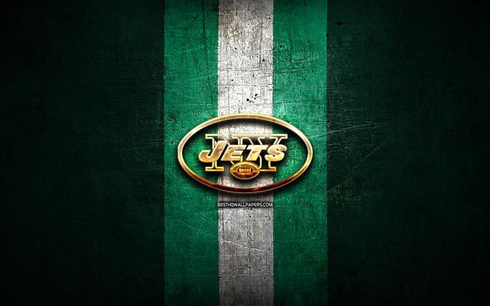 Download Wallpapers New York Jets Golden Logo Nfl Green Metal Background American Football Club New York Jets Logo American Football Usa Ny Jets For Desktop Free Pictures For Desktop Free
