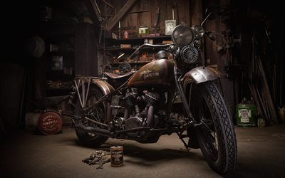 Harley-Davidson, old rusty motorcycle, retro motorcycles, garage, american motorcycles