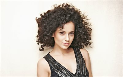 Kangana Ranaut, Indian actress, 4k, Bollywood, portrait, brunette, black curly hair
