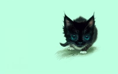 black cat, kitten, minimal, cute animals, cats