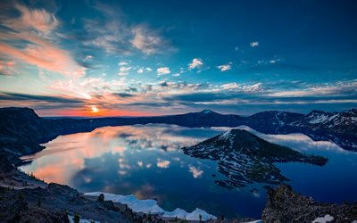 Crater Lake, sunset, mountains, America, Oregon, USA