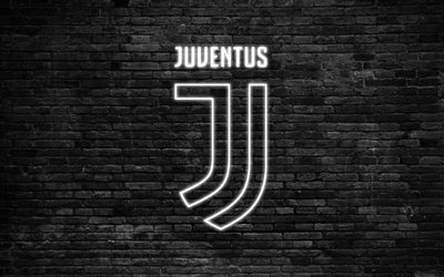 Juventus, 4k, Serie A, the new Juventus logo, Italy, football, neon logo, neon light